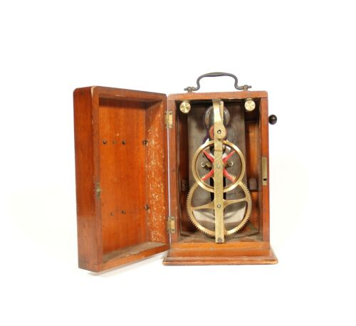 1880's Gear-Driven Magneto Electric Machine In Standing Cabinet With Rear Crank