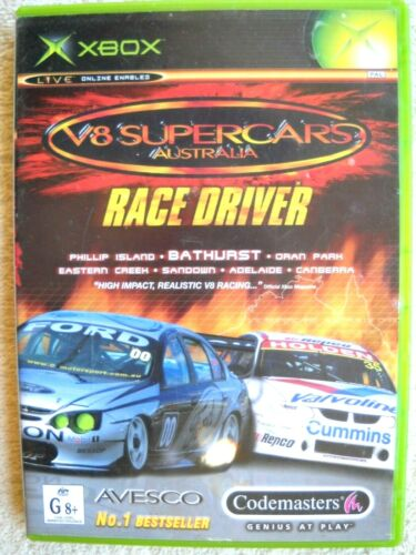 **XBOX GAME V8 SUPERCARS AUSTRALIA WITH MANUAL AND CASE TESTED WORKING OK**