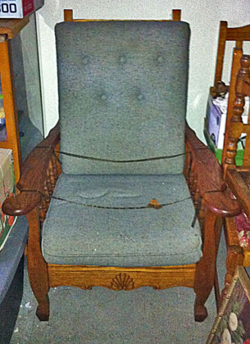 Fine Antique c1920 Lady's Golden Oak Morris Chair With Custom Cushions