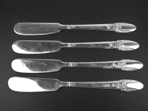 Set 4 x Flat Butter Knives 1847 Rogers First Love 1937 vintage silverplate