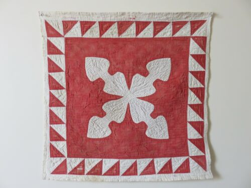 EARLY CRIB OR INFANT QUILT, WALL HANGING RED & WHITE APPLIQUE, AAFA
