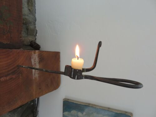 """ANTIQUE IRON """"STICKING TOMMY"""", MINERS BEAM SPIKE CANDLE HOLDER, AAFA"""