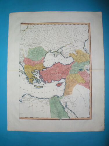 1782 XL ORIGINAL MAP MIDDLE EAST ARMENIA CAUCASUS TURKEY ISRAEL GEORGIA BALKANS