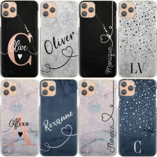 Personalised Initial Phone Case, Name Blue Marble Hard Cover For Nokia 1/2/3/6