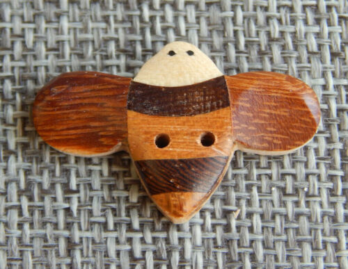 """Antique Vtg Wood Parquetry Button Bumble Bee~Aprx:1-1/8""""~#420-B"""