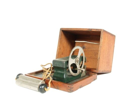 1890's Gear-Driven Magneto Electric Machine In Full Cabinet With Side Crank