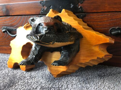 Japanese Vintage Ainu Bear with Fish Hand Carved Wooden Traditional Japanese