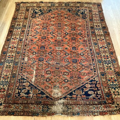 Vintage Rug 5' x 6' 4 Red Farmhouse Hand Knotted Oriental Rug