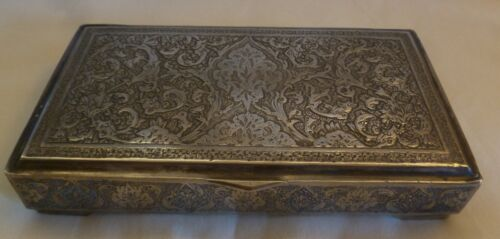 OLD VINTAGE PERSIAN 84 SILVER HAND CHASED BOX-  MEDIUM SIZE - 286 grams