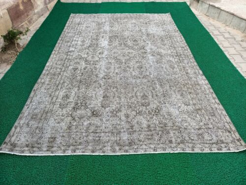 Oversize Gray colors rug,Hand knotted Vintage Rug,Bohemian Rug,Over dyed Rug