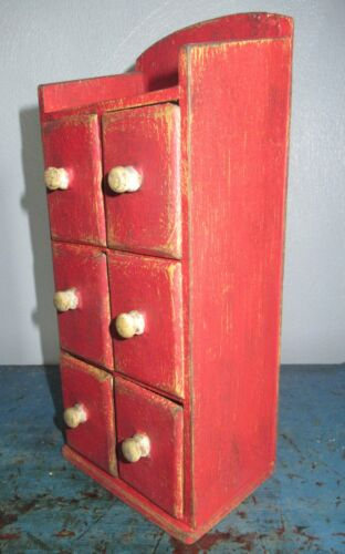 TINY Vintage 6 Drawer Spice/Notions Cabinet/Box/Cupboard/Chest-Red Paint