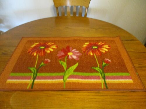 """Made in Egypt 31"""" x 20"""" Area Rug Mat-Sunflower/Daisy Design-Rubberized Backing"""
