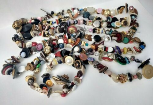 Antique Vintage Buttons 10 feet 5 inch+ Charmstring Charm String Metals Glass ++