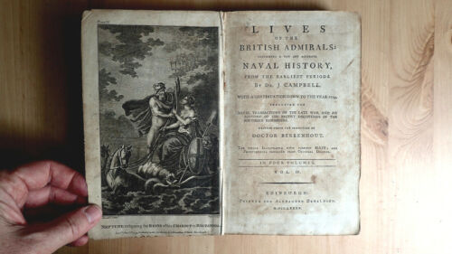 PRINTED 1785 LIVES OF BRITISH ADMIRALS INSCRIBED TO 1ST OFFICER STEPHEN SMITH