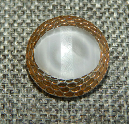 """Antique Vtg Glass Moonglow Button w/ Gold Luster ~Apx:7/8""""~#-524-D"""