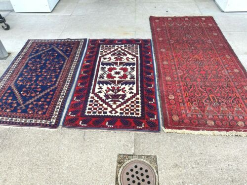 antiques-swiss*****3 Beautiful Antique BALOUTCH rugs 3`x 6`5 and 2`7 x 4`6  ft
