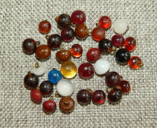 Lot of Antique Vtg Glass Buttons Charm String Many Swirlback  #823-A