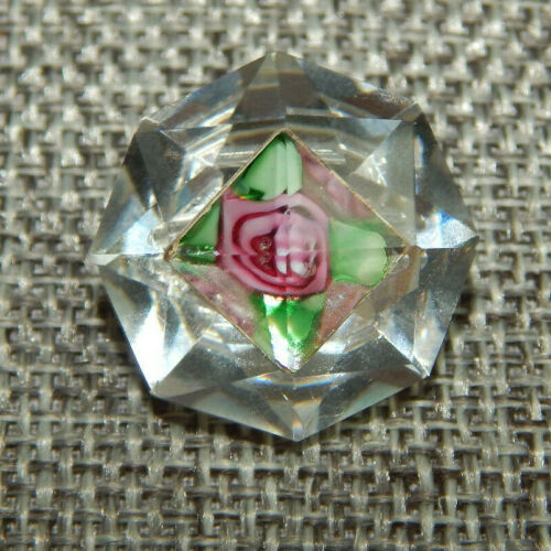 """Antique Vtg Paperweight Faceted Glass Button Rose~Aprx:7/8""""~#138-A"""
