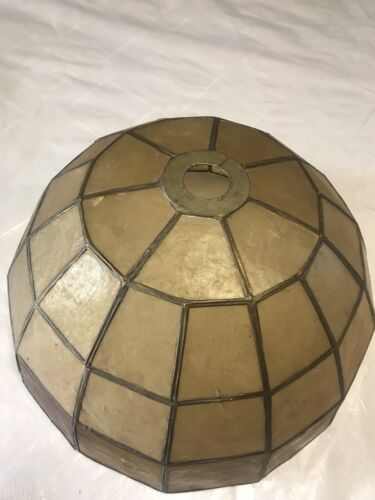 19th century Light Shade Yellow And Brown Copper Or Led Plastic Glass Antique30c