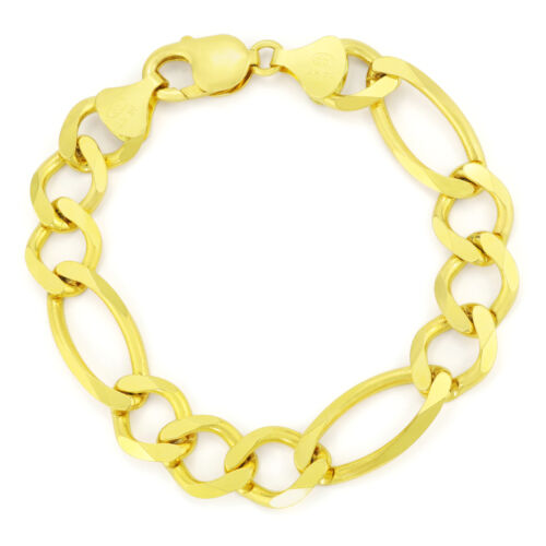 """14K Yellow Gold Mens SOLID 12mm Figaro Chain Link Bracelet Lobster Clasp 8.5"""""""