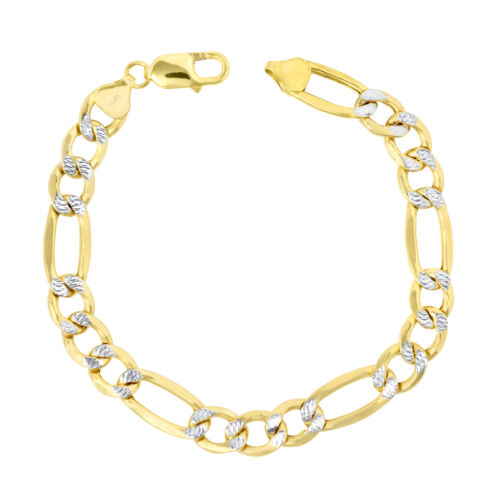 """14K Yellow Gold Mens Solid 12mm Diamond Cut White Pave Figaro Chain Bracelet 8"""""""