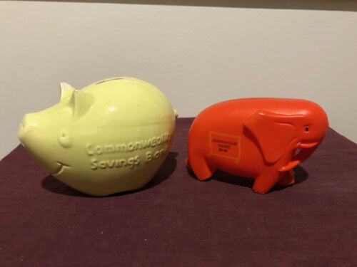 Two Vintage Commonwealth Bank Piggy Banks - 1960s/1970's - pre-owned
