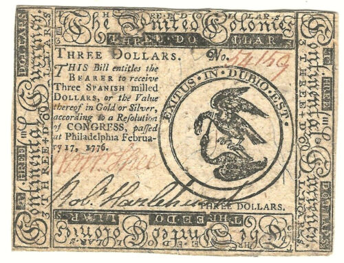 REVOLUTIONARY WAR RARE UNITED COLONIES $3.00 CONTINENTAL CURRENCY NOTE 1776Original Period Items - 10951