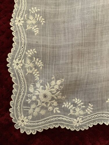 Vintage Edwardian French Doily or handkerchief,Gorgeous Fine Handmade Embroidery
