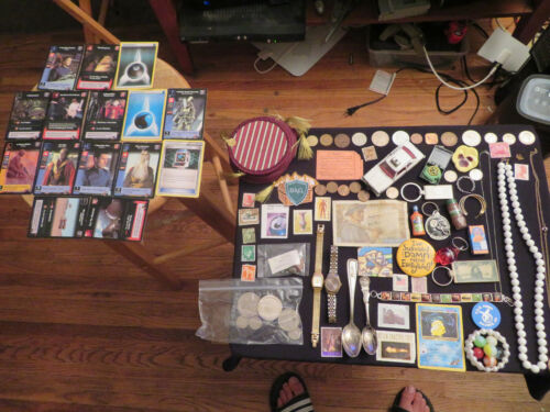 Vintage junk drawer lot 14K gold jewelry old marbles old coins trading cards old