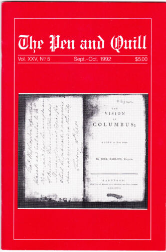 The Pen & Quill ~ Publication of the UACC ~ Sept-Oct 1992 ~ Autograph Journal