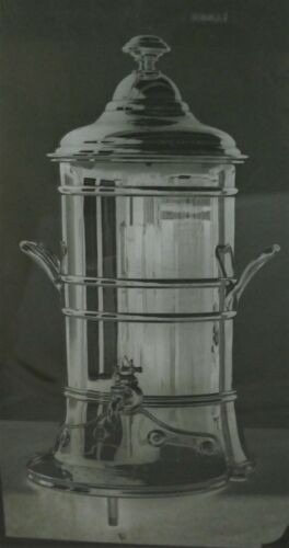 RARE Antique Reed & Barton Large Glass Plate Negative Image - Silver Urn
