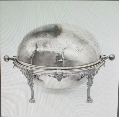Vintage Silver plated engraved rotating breakfast dish with shell & lion paws