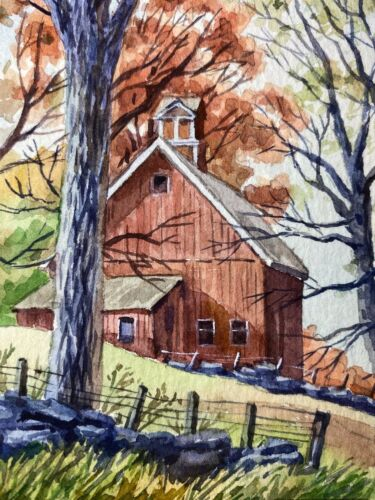 Watercolor Painting Autumn Nature Farm Country House Forest ACEO Art