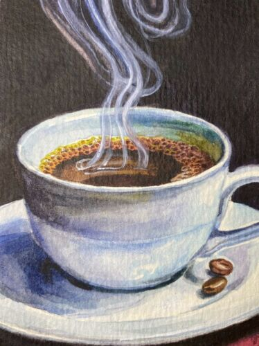 Watercolor Painting Cup of Hot Coffee ACEO Art