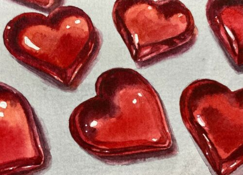 Watercolor Painting Heart Candy Symbol Love ACEO Art