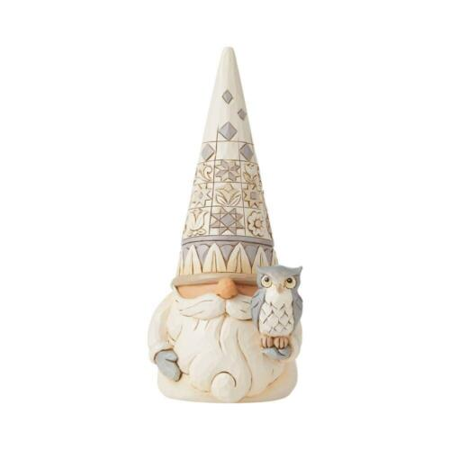 Jim Shore WHITE WOODLAND GNOME WITH OWL-WISDOM IN THE WOODLAND 6008864 NEW 2021