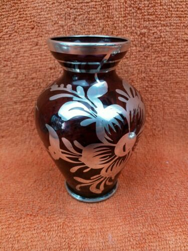 Vintage Venetian Purple Glass Vases With Silver Overlay