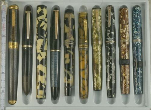 LOT OF 10 VINTAGE FOUNTAIN PENS FOR PARTS OR REPAIR, COLUMBUS, ITALSTILO, MORE