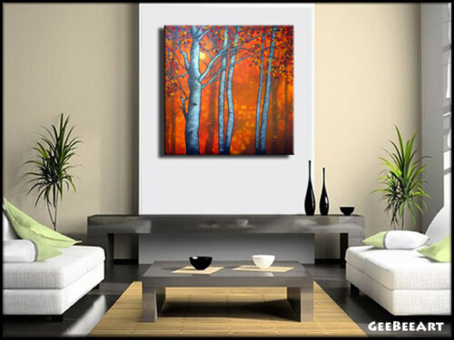 Original Painting Canvas Birch Sunset Trees Contemporary Square Signed GeeBeeArt