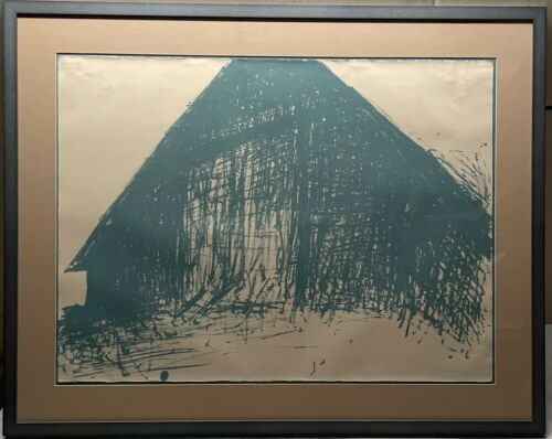 Rare Original 1969 WOLF KAHN Abstract 'Barns' LITHOGRAPH - Signed Edition of 40