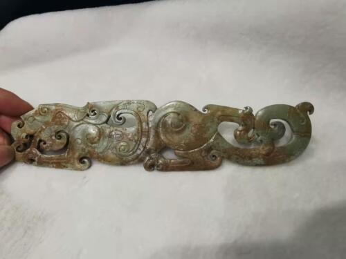 Chinese natural hand carved jade statue tiger shaped dynasty jade pendent