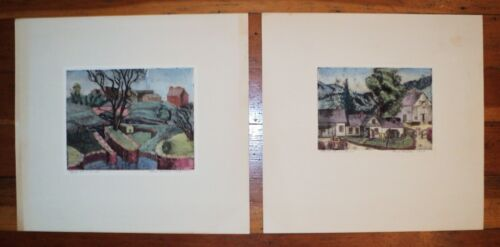Pair 1948 Signed Aquatint &Etching: Maine Farm +Washington DC Canal -Bess Grable