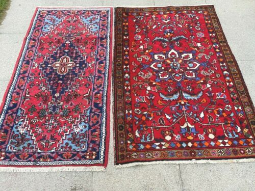 antiques-swiss***** 2 Beautiful Antique Indo LILIAN rugs 3`2x4`8 and 2`6x4`8  ft