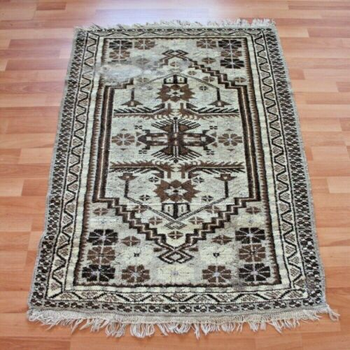 Vintage Turkish Brown Floral Area Rug 2x4ft Handwoven Wool Small Shabby Chic Rug