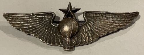RARE 1930's US SENIOR BALLOON PILOT WINGS STERLING PIN BACK MARKED AE Co PRE WW2