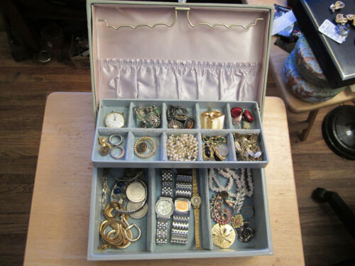 junk drawer vtg jewelry box sterling jewelry old coins watches pins vintage 925