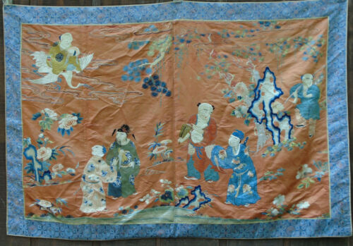 """19TH CENTURY LARGE CHINESE SILK EMBROIDERED PANEL IMMORTALS 65""""X44"""""""