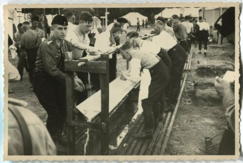 GERMAN PRE-WWII ARCHIVE PHOTO: MEN IN UNIFORMS AT WASHING FACILITY MILITARY CAMP