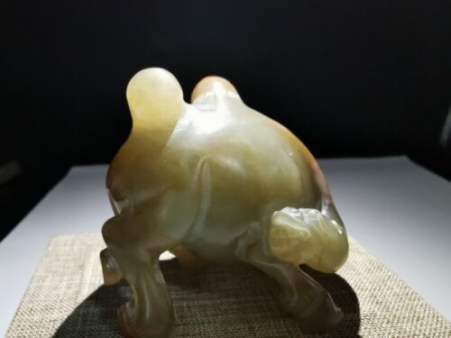 Chinese natural hand carved jade statue camel shaped dynasty jade statue