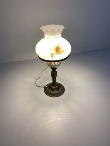 Vintage Milk Glass Table Lamp with Brass Sculptured Base and Floral Pattern Gift